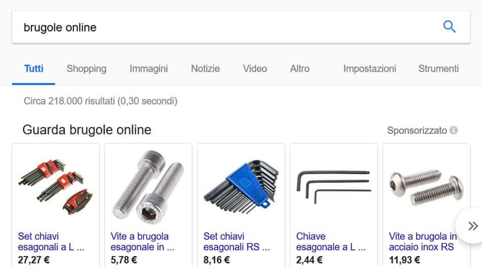 risultati di ricerca brugole online
